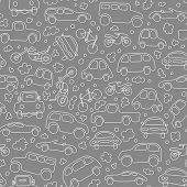 Traffic jam. Cars on asphalt. Seamless vector wallpaper