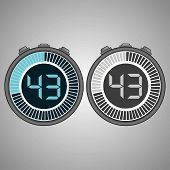 Постер, плакат: Electronic Digital Stopwatch Timer 43 Seconds Isolated On Gray Background Stopwatch Icon Set Time
