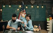 Fun Concept. Family Have Fun In Class. Little Child And Parents Enjoy Folding Paper Planes. Learning poster