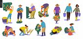 Harvesting People - Set Of Vector Flat Hand Drawn Illustrations Of People Doing Farming Job - Wateri poster