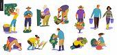 Harvesting People - Set Of Vector Flat Hand Drawn Illustrations Of People Doing Farming Job - Wateri poster