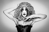 Cool Drag Queen With Spectacular Makeup, Glamorous Stylish Look, Posing With   Proud And  Style For  poster