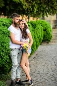 Man Bearded Hipster Hugs Gorgeous Girlfriend. Park Best Place For Romantic Walk. Couple In Love Roma poster