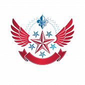 Winged Military Star Emblem Decorated With Lily Flower. Heraldic Vector Design Element, 5 Stars Guar poster
