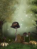 picture of fairy-mushroom  - fairytale scene in the forest with pumpkins mushrooms and dragonfly - JPG
