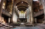 Ruins of the sanctuary at the abandoned City Methodist Church in Gary, Indiana