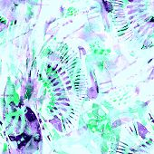 Watercolor Tropical Seamless Pattern. Ikat Colorful Paint Background. Abstract Splash Watercolour De poster
