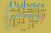 stock photo of diabetes symptoms  - Word cloud concept illustration of Diabetes and preventing - JPG