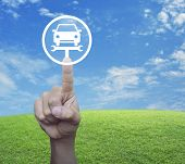 Hand Pressing Service Fix Car With Wrench Tool Icon Over Green Grass Field With Blue Sky, Business R poster