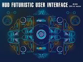 Futuristic Blue Virtual Graphic Touch User Interface, Target, Hud Interface Dashboard, Virtual Reali poster