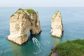 Raouche, Pigeons Rock And Cave, A Touristic Icon Rock Cliff In Beirut, Lebanon. poster