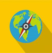 Compass On Earth Icon. Flat Illustration Of Compass On Earth  Icon For Web poster