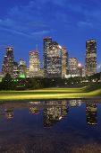 Panorama Of Houston At Night. Houston, Texas, Usa. poster