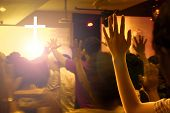 Praise And Worship Concept:hands Raised In Excitement And Praise At Contemporary Church Concert And  poster