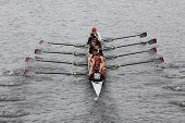 BOSTON - OCTOBER 23: Gunnery School Crew youth men's Eights races in the Head of Charles Regatta. Ma