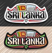 Vector Logo For Sri Lanka Country, Fridge Magnet With Sri Lankan State Flag, Original Brush Typeface poster