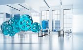 Cloud Computing And Networking Shown Like Gears And Cogwheels Engine. 3d Rendering poster