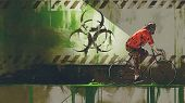 Zombie With Gas Mask Riding A Bicycle In Biohazard Zone, Digital Art Style, Illustration Painting poster
