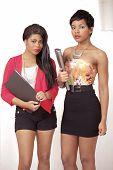 Cute College Girls In Trendy Casuals