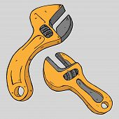 Wrench. Vector Illustration Of A Set Tool Wrench. Hand Drawn Adjustable Wrench. poster