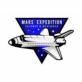 Space Mission To Mars Vector Logotype Concept With Space Shuttle. Blue Colors In Priority. Mars Expe poster