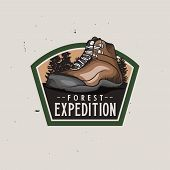 Forest Expedition Vintage Colorful Logotype With Hiking Trekking Shoe, Vintage Badge For Expeditions poster