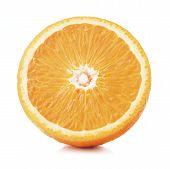 Single Half Of Ripe Orange Fruit Isolated On White Background poster