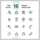 Home Icons. Set Of  Line Icons. Electric Fan, Ironing, Battery. Domestic Life Concept. Vector Illust poster