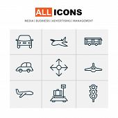Transportation Icons Set With Plane, Transport, Auto And Other Plane Elements. Isolated Vector Illus poster