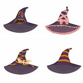 Set Of Unusual Witch Hats In Manga Style Anime On Isolated Background poster