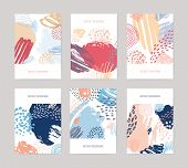 Collection Of Vertical Abstract Backdrops Or Card Templates With Colorful Paint Traces, Blotches, Sm poster