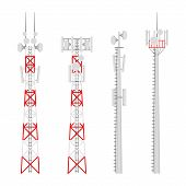 Transmission Cellular Towers Vector Set. Mobile Communications Tower With Satellite Communication An poster