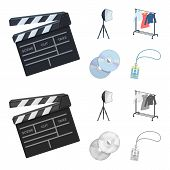 Movies, Discs And Other Equipment For The Cinema. Making Movies Set Collection Icons In Cartoon, Mon poster