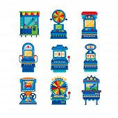 Arcade Game Machines Set, Retro Casino Slot Gaming Computer Machinery Vector Illustrations On A Whit poster