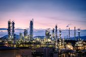 Manufacturing Of Petroleum Industrial Plant On Sky Twilight Background, Oil And Gas Refinery Or Petr poster
