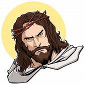 Portrait Of Jesus Christ Wearing Crown Of Thorns And Looking At You With Serious Expression. poster