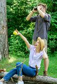 Couple Enjoy Hike In Forest Observing Nature. Couple Ornithologists Expedition In Forest. Woman And  poster