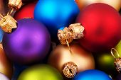 foto of christmas ornament  - various colored christmas ornaments  - JPG