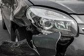 Car Is Broken In Front. Bumper And Headlight Broken. poster