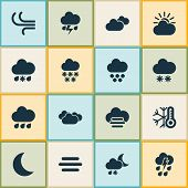 Weather Icons Set With Sleet, Winter, Light And Other Synoptic Elements. Isolated  Illustration Weat poster