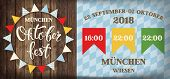 Attractive Oktoberfest Celebration. Flags Festival Poster With Refreshing Beverage Isolated On Woode poster