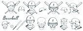 Set Of Baseball Player Design Elements. Hand Drawn Baseball Ball. Cartoon Baseball Helmet. Hand Draw poster