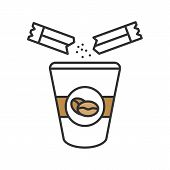 Adding Sugar To Coffee Color Icon. Disposable Coffee Cup And Sugar Sachet. Isolated Vector Illustrat poster