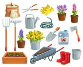 Vector Gardening Tools And Flowers Icons. Rubber Boots, Seedling, Tulips, Gardening Can And Cutter.  poster