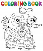 Coloring Book Pirate Boat Theme 1 - Eps10 Vector Picture Illustration. poster