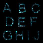Alphabet: Set Of Broken Into Pieces Glass Letters