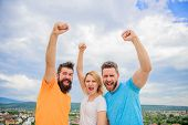 Ways To Build Ohesive Team. Woman And Men Look Confident Successful Sky Background. Threesome Stand  poster