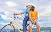 Bike Rental Or Bike Hire For Short Periods Of Time. Date Ideas. Couple With Bicycle Romantic Date Sk poster