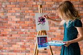 Art Painting Hobby. Creative Leisure. Girl Drawing A Picture. Talent Inspiration Creation And Self E poster