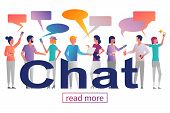 Chat Concept. Group Of Young People With Gadgets: Chatting, Dating. Smartphone And Laptop In Hands.  poster